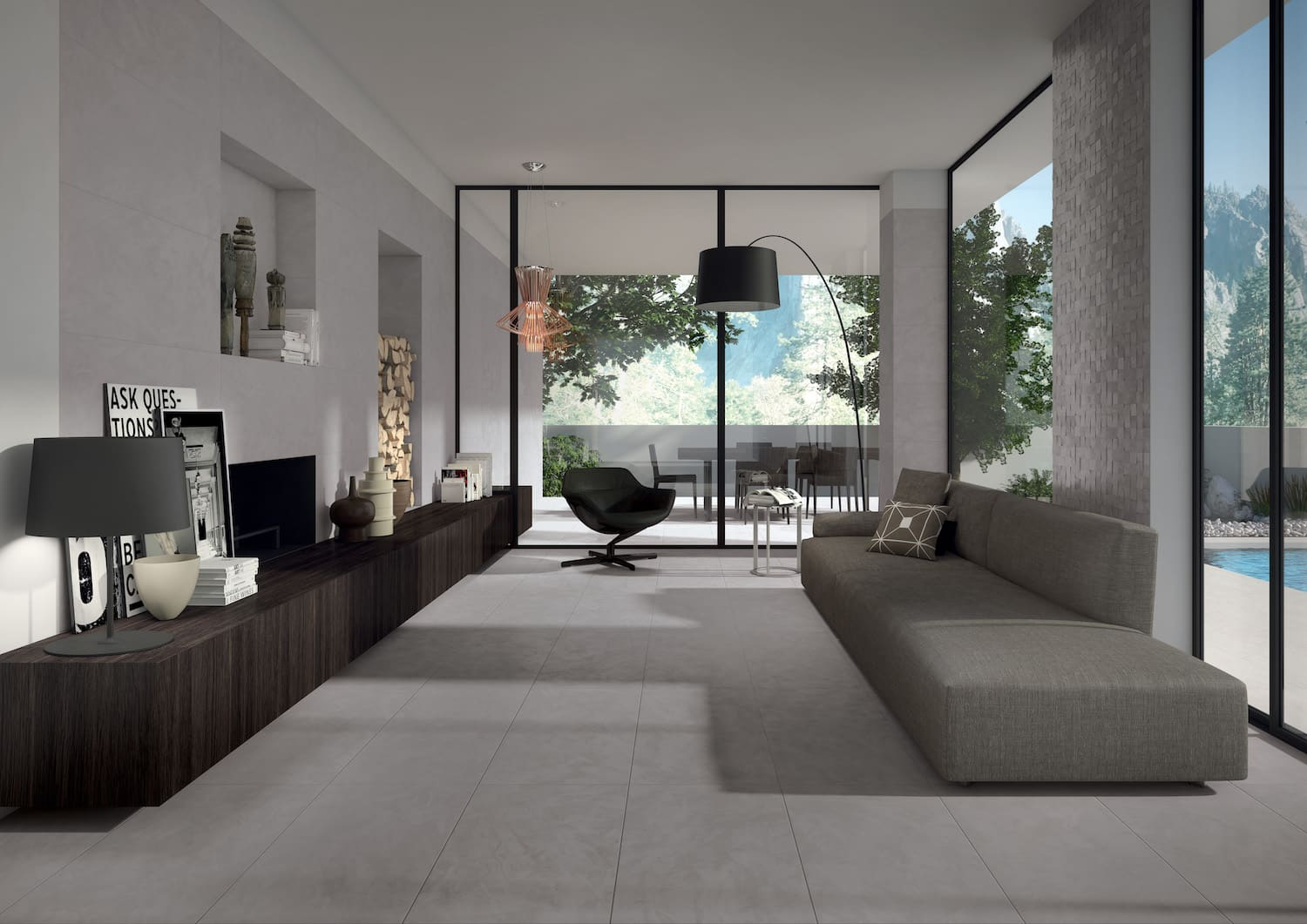 Wor grey living for Carrelage living